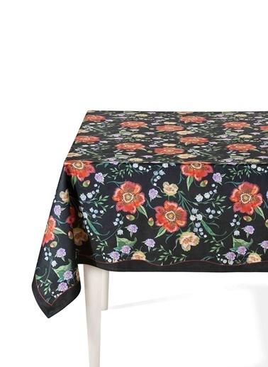 The Mia Floral Masa Örtüsü B - 150 x 150 Cm - Siyah Çiçekli Siyah
